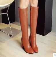 ingrosso scarpe di tacco invernale coreano-Women 's stivali autunno e l'inverno coreano stivali alti cerniere scarpe di grandi dimensioni con elevata - Cavaliere ginocchio tacco