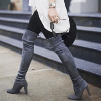 bottes hautes en daim achat en gros de-HEFLASHOR Mode Femme Cuisse D'hiver Bottes Élevées Faux Daim En Cuir Solide Talons Hauts Femmes Sur Les Chaussures De Genou