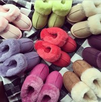 Wholesale home slippers women warm resale online - Fur Slippers Colors Winter Women Warm Indoor Slippers Soft Leather Boot Wool Lady Home Shoes Pair OOA6065