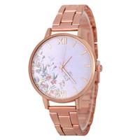 точные часы оптовых-GENBOLI Quartz Watch Luxury Stainless Steel Strap Flower Grass Round Dial Precise Quartz Watches Exquisite Workmanship