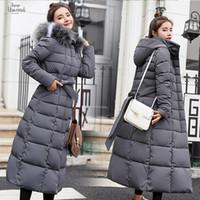 черный мех с капюшоном длинный parka оптовых-Мягкие теплые куртки Wp013 женские зимние плюс размер длинная стеганая черная куртка с капюшоном с капюшоном парки для пуха