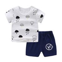 weiße baumwollbaby-sommeranzüge großhandel-Sommer Baby Boy Kleidung Sets White Clouds Druck Baumwolle Baby Girl Kurzarm Shorts Anzug Kleidung Sets