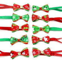 Wholesale dog cat collar dhl resale online - DHL Christmas Pet Cat Dog Collar Bow Tie Adjustable Neck Strap Cat Dog Knot Collar Grooming Accessories Pet Puppy Product Supplies A05