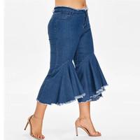 kadın elastik bel kot şort toptan satış-Kadınlar için kot Kot Pantolon Kadın yaz Elastik Artı Gevşek Denim kısa pantolon Düğme Rahat Boot Cut Pantolon düşük bel Kot