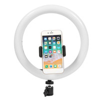 Wholesale live videos resale online - Dimmable LED Studio Camera Ring Light Phone Video Selfie Light Lamp With Tripod Phone Holder Table Fill Light For Studio Live Makeup Photo