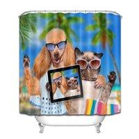 alfombras impermeables al por mayor-Divertido gato perro ducha cortina impermeable tela baño decoración ganchos alfombra conjunto
