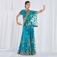 top indischen tanz großhandel-Bauchtanz tragen Leistung Bauchtanz Kleidung indische bestickte Bollywood Kostüm 3pcs Set (Top, Rock Sari)