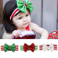 bebekler için kırmızı baş bandları toptan satış-Çocuklar yürümeye başlayan saç bandı Noel bebek kız parıltılı saç bantlarında yeşil, kırmızı ışıltı bebekler Santa saç aksesuarları çocuk saç bandı EEA706