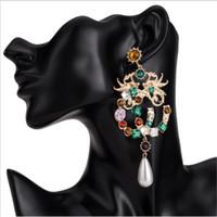 frauen drachenschmuck großhandel-Frauen Mode Böhmischen Stil Ohrringe Übertreiben Drachen Diamant Ohrstecker Luxus Brief Ohrringe Dame Geschenk Ohrstecker Schmuck