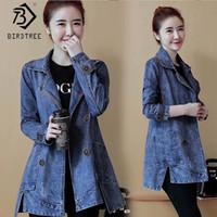 jaqueta coreana azul venda por atacado-Coreano Estilo Jacket 2019 Nova Mulher de solto completo manga Moda Blue Tops Feminino Buraco Casual Office Lady Hot Sale C96402K