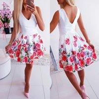 vestidos de verão sem costas brancas venda por atacado-Sexy com decote em v branco floral print mulheres summer dress 2019 vestidos de festa sem encosto vestidos