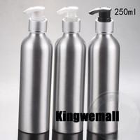 garrafas de bombas de alumínio venda por atacado-Frete grátis 250 ml de prata garrafas de alumínio com recipientes da bomba de loção creme de parafuso, garrafa de alumínio com bomba de prata 300 pc / lote