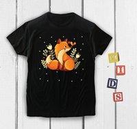 engraçado bebê animais venda por atacado-Bonito Caçoa o T Fox Crianças T-Shirt Amor Animal Roupas de Bebê Engraçado de Manga Curta Das Mulheres Dos Homens Unisex Moda tshirt Frete Grátis preto