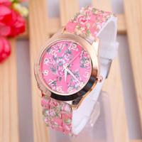 ingrosso gelatina di fiori di rosa-2018 Top Brand New Luxury Women Watch Reloj Rose Flower Print Cinturino in silicone floreale Jelly Dress Orologi da polso al quarzo regalo @F