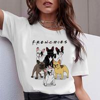 toro femenino al por mayor-Dachshund Pug Teckel Camiseta divertida Mujeres Harajuku Bulldog francés lindo Francés Pastor alemán Camiseta Pit Bull Camiseta Mujer superior