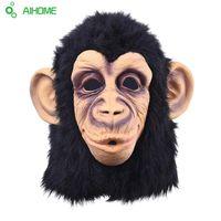 trajes de macaco para adultos venda por atacado-Atacado-Super Lovely Monkey Head máscara de látex Full Face Adult Mask Halloween Masquerade Fancy Dress Party Traje Cosplay Máscara animal bonito