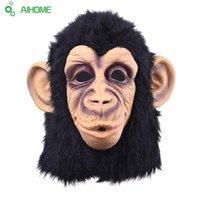 yetişkin fantezi halloween maymun kıyafeti toptan satış-Toptan Satış - Toptan-Süper Güzel Monkey Head Lateks Maske Tam Yüz Yetişkin Maskesi Halloween Masquerade Fancy Elbise Partisi Cosplay Kostüm Sevimli Hayvan Maskesi
