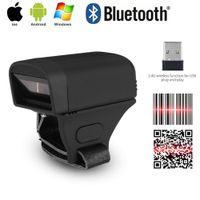 scanner de código de barras ios venda por atacado-Anel de dedo Sem Fio Bluetooth Scanner de Código de Barras Leitor Portátil Laser Luz Vermelha CCD Scanner de Código de Barras para IOS Android Windows