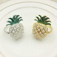 perle serviettenringhalter großhandel-Gold Silber Ananas mit Perlen Serviettenring Hochzeit Urlaub Dekoration Familie Candlelight Dinner Serviettenhalter 24-tlg