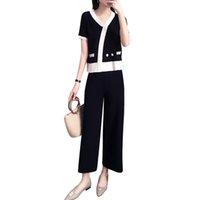 siyah üst beyaz pantolon toptan satış-Yeni kısa kollu triko üst geniş pantolon 2019 yaz suit kadın casual kıyafet iki parçalı örgü buz ipek takım elbise beyaz siyah
