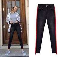 American women s high waist stretch double side stitching big red patch  denim nine pants irregular cat gray black jeans. NZ  50.98 · Fashion Casual  Men s ... bc0238654