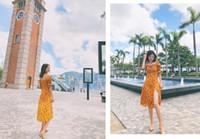 ingrosso abiti gialli-2019 summer new retro girl yellow print Abito floreale sottile a vita alta con colletto quadrato sottile