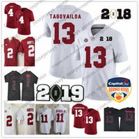 4bf46b67a05 Alabama Crimson Tide #13 Tua Tagovailoa 2019 Championship White Jersey 2  Jalen Hurts 4 Jerry Jeudy 11 Henry Ruggs Harris Red Orange Bowl