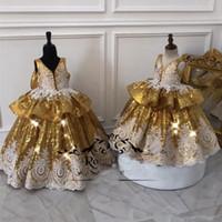 ouro lantejoulas mais vestido tamanho venda por atacado-Ouro Lantejoulas Vestido de Baile Meninas Pageant Vestidos 2019 Lace Vintage Ruffles Bow Plus Size Crianças Baratos Crianças Vestidos Pageant Vestidos para Adolescentes