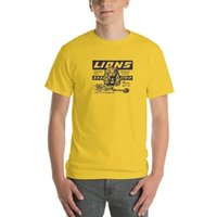 carro de corrida amarelo venda por atacado-Unissex arrasto dos leões Amarelo Faixa T-shirt Once Upon A Time In Car Racing Moda Hollywood do vintage Camisetas