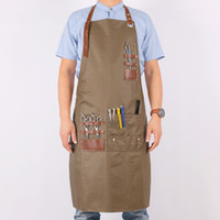парикмахерские фартуки оптовых-WEEYI Women Men Hairdresser Apron Cotton Bib Aprons Kitchen With Leather Straps Adult Apron For Work Barber Chef Drawing BBQ