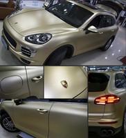 матовый золотой автомобиль оптовых-Шампанское золото матовая хромированная металлическая виниловая пленка для автомобилей с воздушными пузырьками Бесплатная автомобильная пленочная пленка для автомобилей 1.52x20m / Roll (5x67ft)