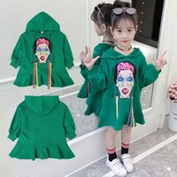 Wholesale beautiful clothes woman online - Big Girls Dress Autumn Kids Girls Clothing Mouth Beautiful Woman Printed Hoodies Dress Children Fashion Casual Dress T