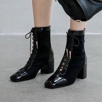 bota larga de encaje al por mayor-Mujeres; s genuino cuero de gamuza gruesa tacón alto con cordones botas hasta la rodilla señoras cómodas invierno cálido felpa botas largas zapatos venta