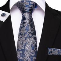 gravatas alaranjadas de paisley para homens venda por atacado-26 Estilo Paisley Gravata dos homens Hanky Abotoaduras Jacquard Gravatas em Tecido Para Homens Negócios Casamento Azul Ouro Rosa Laranja Masculino Gravata