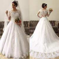 Wholesale long white dress amazing for sale - Group buy Amazing Lace Long Sleeves Ball Gown Wedding Dresses vestido de noiva robe de mariee Illusion Back wedding Gowns