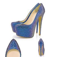 zapatos de boda de 16 cm al por mayor-Diseñador de moda bombas Red Rottom Dress Shoes Rhinestone 16 CM puntiagudo tacones altos plataforma de cristal zapatos del banquete de boda 35-42