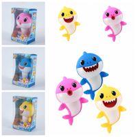 estudante crianças venda por atacado-3 estilos 18 cm bebê tubarão toys cantando músicas dos desenhos animados brinquedo lighiting brinquedo de plástico chlid kids party favor presente do estudante ffa1954