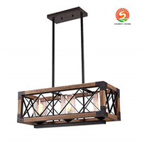 Wholesale loft style chandeliers resale online - European style retro industrial wind loft wood chandelier Rectangle Wood Metal Pendant creative wood lamps restaurant living room light