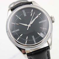 relógio de vestido de banda de couro preto venda por atacado-Elegante e clássico Mens Automatic Cellini Watch Men Black Dial pulseira de couro relógios de safira 39 MM mecânico vestido relógios de pulso