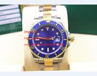 Wholesale file tags resale online - High Quality Wristwatches Automatic LB mm Two Tone Blue Ceramic Bezel Dial Luminous Mens Men s Watch Watches Original Box File