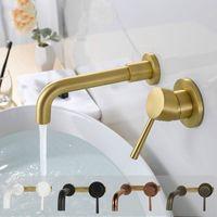 duvara monte su musluğu toptan satış-Prinç Duvara Monte Havzası Mikser Prinç Siyah Altın Krom Kaplama Banyo Bataryası Tek Kolu Duvar Su Mikser