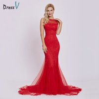 Dressv red evening dress cheap sleeveless mermaid scoop neck backless sweep  train wedding party formal trumpet evening dresses D18122903 0f938f0d3369
