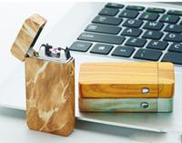 encendedores de cigarrillos usb recargables de arco al por mayor-Diseño Dual Arc Electric USB encendedor recargable a prueba de viento cigarrillo sin llama fresco regalo para hombre c135