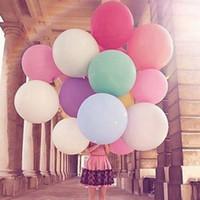 pelotas redondas grandes al por mayor-Globos de látex redondos 36 pulgadas Decoración de la boda Helio Grandes globos gigantes grandes Fiesta de cumpleaños Decora Bola de aire inflable RRA1925