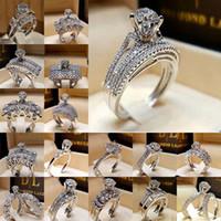 rhodium kristall ringe großhandel-Diamant Kristall Ring Zirkonia Ring Krone Ehering Set Wrap Braut Kombination Ringe Designer Schmuck Will und Sandy DropShip 080396