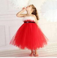 prom kleider feder stil groihandel-2-8 Jahre des Babys Weihnachtskleid mit Pailletten ärmel rote Masche Tutu Röcke mit Feder prom Parteikleider für Kinder neue Jahr x'mas Tag