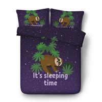 ingrosso re scherzano-3 pezzi biancheria da letto set con 2 cuscini shams pigro orsetto a tema tribù di bradipi australiani letto set carino sorridente accendino copripiumino bradipi