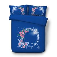 edredón reina de flores azules al por mayor-Flor rosada, colorida mariposa, funda nórdica, juego de funda de edredón de 3 piezas con 2 fundas de almohada, azul púrpura, galaxia, juegos de cama estrellados, para niños