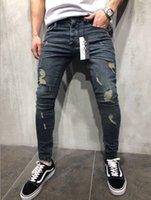 blaue jeansfüße großhandel-Herren Jeans High Street Hip Hop Distrressed Hosen nehmen Feet Zipper Jeans Farbe Blau Plus Size 28-40