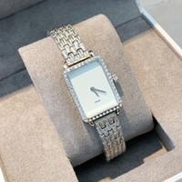 diamant gesicht uhren großhandel-Rechteck Gesicht Luxus Frauen weibliche Uhr Strass Quarz Dame Armbanduhr Armbanduhr mit Diamant Casual Stahlband einfaches Kleid zu sehen